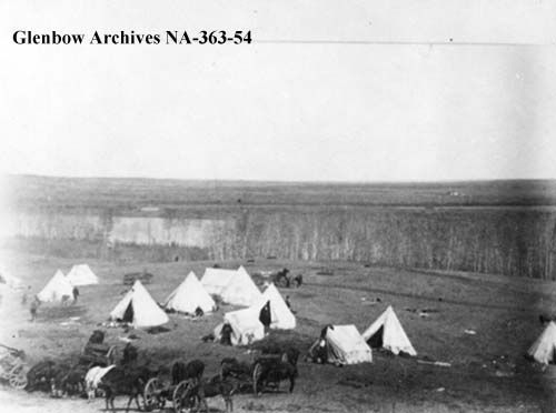 Louis Riel's prison camp at Guardapuis' Crossing on the South Saskatchewan
